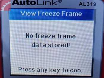 NO FREEZE FRAME DATA STORED